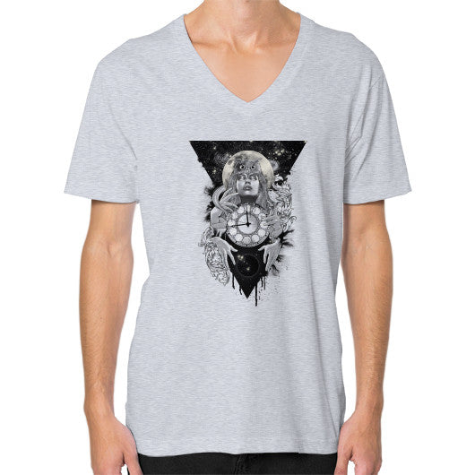 'THE PASSAGE' V-Neck (on man) Heather grey Zacaca Shop USA