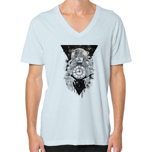 'THE PASSAGE' V-Neck (on man) Light blue Zacaca Shop USA