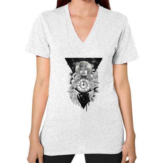 'THE PASSAGE' V-Neck (on woman) Ash grey Zacaca Shop USA