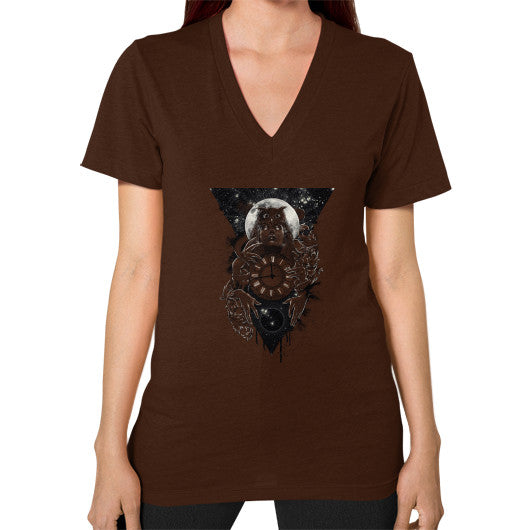 'THE PASSAGE' V-Neck (on woman) Brown Zacaca Shop USA