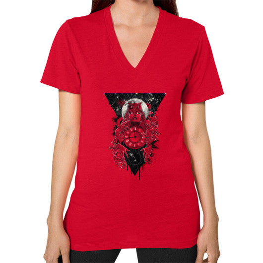 'THE PASSAGE' V-Neck (on woman) Red Zacaca Shop USA