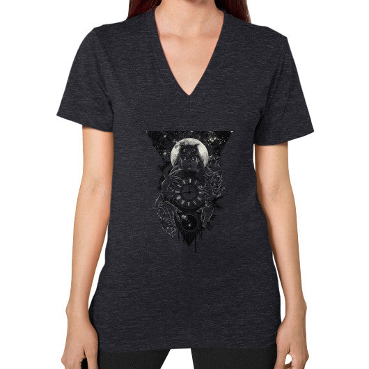 'THE PASSAGE' V-Neck (on woman) Tri-Blend Black Zacaca Shop USA
