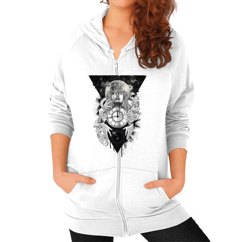 'THE PASSAGE' Zip Hoodie (on woman) White Zacaca Shop USA