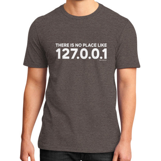 THERE IS NO PLACE LIKE 127.0.0.1 District T-Shirt (on man) Heather brown Zacaca Shop USA