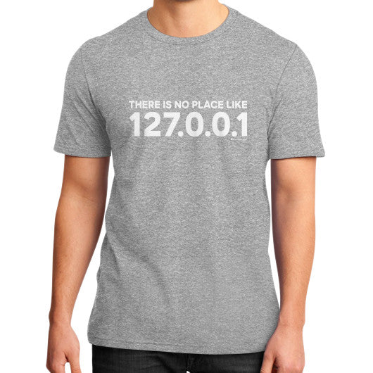 THERE IS NO PLACE LIKE 127.0.0.1 District T-Shirt (on man) Heather grey Zacaca Shop USA