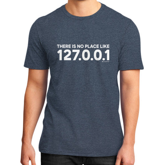 THERE IS NO PLACE LIKE 127.0.0.1 District T-Shirt (on man) Heather navy Zacaca Shop USA