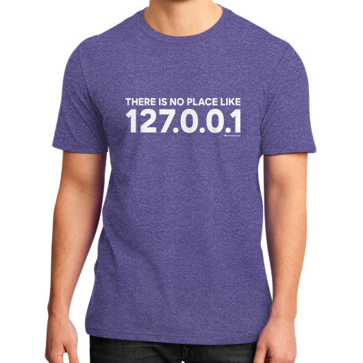 THERE IS NO PLACE LIKE 127.0.0.1 District T-Shirt (on man) Heather purple Zacaca Shop USA