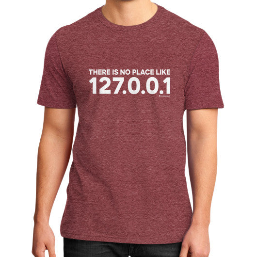 THERE IS NO PLACE LIKE 127.0.0.1 District T-Shirt (on man) Heather red Zacaca Shop USA