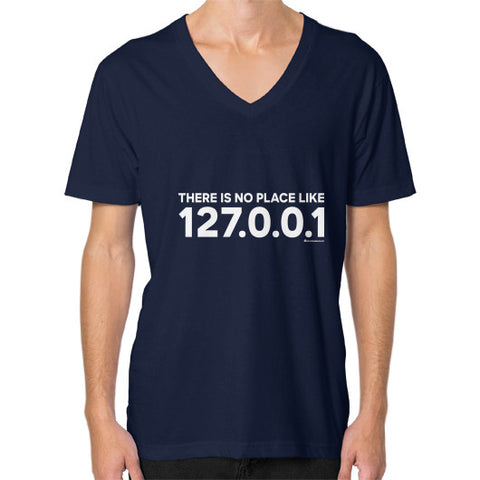 THERE IS NO PLACE LIKE 127.0.0.1 V-Neck (on man) Shirt Navy Zacaca Shop USA