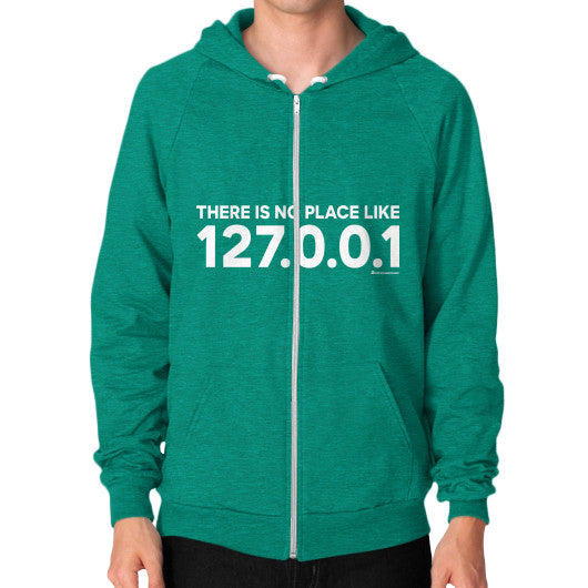THERE IS NO PLACE LIKE 127.0.0.1 Zip Hoodie (on man) Shirt Tri-Blend Vintage Green Zacaca Shop USA
