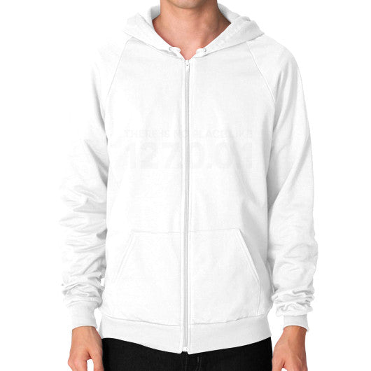 THERE IS NO PLACE LIKE 127.0.0.1 Zip Hoodie (on man) Shirt White Zacaca Shop USA