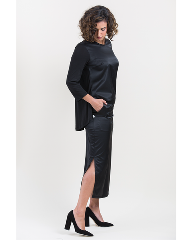 Shani Segev, Skirt with Pockets, Maxi Skirt with Slit, Black Skirt, Black Satin Skirt, Straight Skirt, Office Skirt, Cotton Skirt