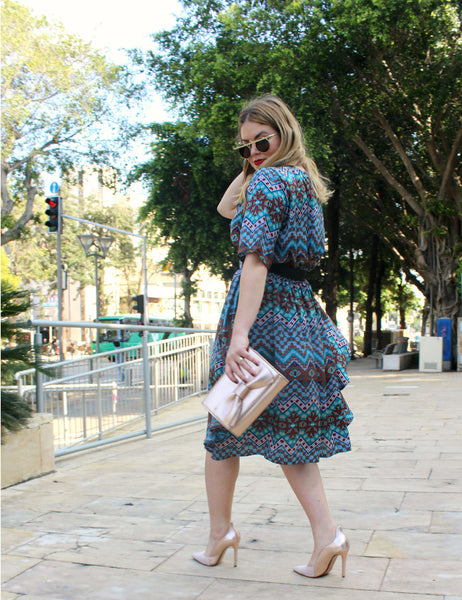 Ethnic-print-knee-length-dress-buttons-short-sleeve shani segev