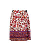 Flower Print Knee Length Skirt Elastic Waist Band