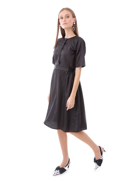 Knee Length Dress Black Satin Elastic Waist Band Elbow Length Sleeve