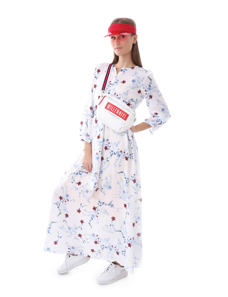 Maxi Dress Floral Print Elastic Waist Band Long Sleeve