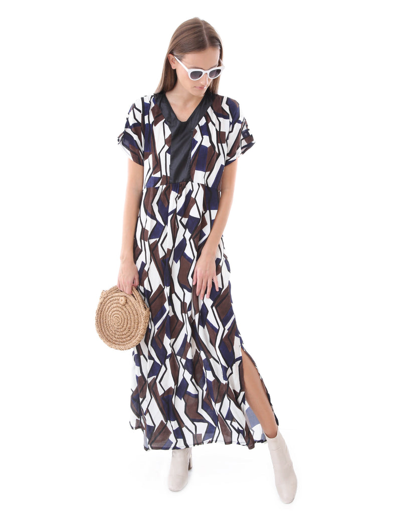 Maxi Oversize Dress With Slits Geometric Print