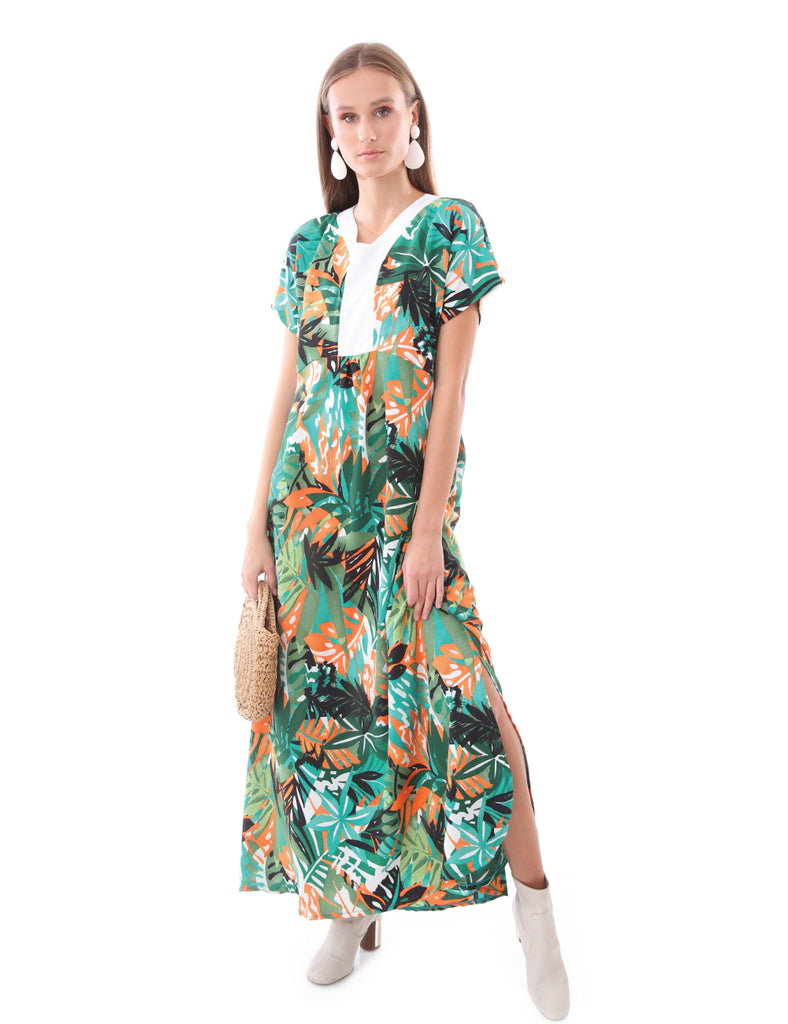 Maxi Oversize Dress With Slits Tropical Green and Orange Print