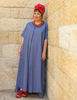 Shani Segev, Blue Cotton Dress, Kimono Sleeve Dress, Summer Dress Cotton, Long Dress Modest, Oversized Dress Women, Autumn Dress, Casual Dress, Modest Fashion
