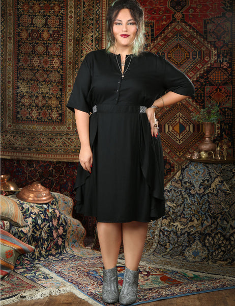 black-knee-length-dress-buttons-short-sleeve shani segev