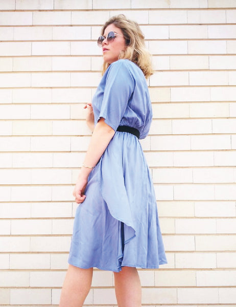 blue-knee-length-dress-buttons-short-sleeve shani segev