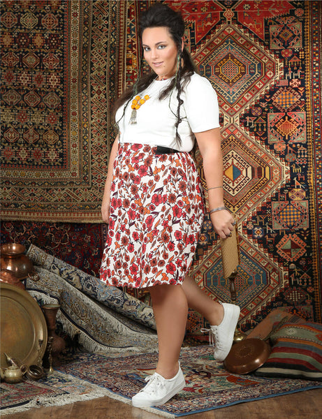 floral-print-knee-length-skirt-pockets shani segev