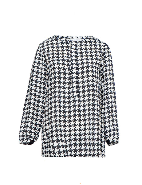 houndstooth-black-white-blouse-blue-print-long-sleeve-button2