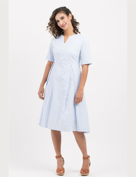light-blue-white-stripes-kength-dress-short-sleeve-classic