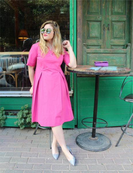 pink-knee-length-dress-short-sleeve-classic shani segev