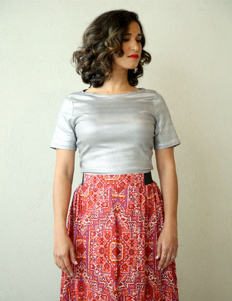 silver-fit-top-short-sleeve-round-neckline shani segev
