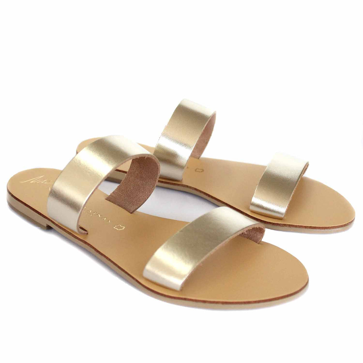 NICOLAS LAINAS 40 GOLD SANDALS