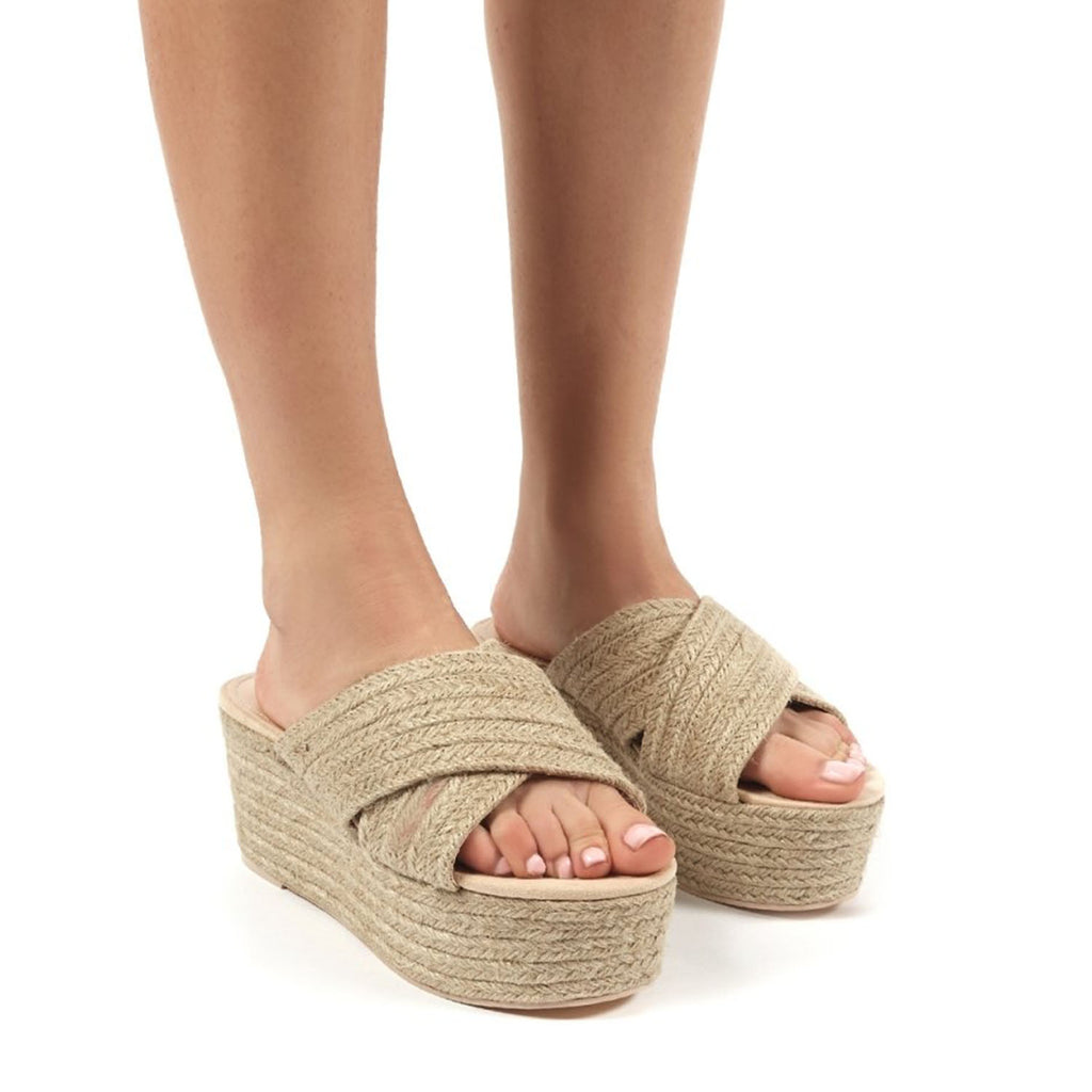 PUBLIC DESIRE BREEZE NATURAL CROSS OVER ESPADRILLE FLATFORM SANDALS
