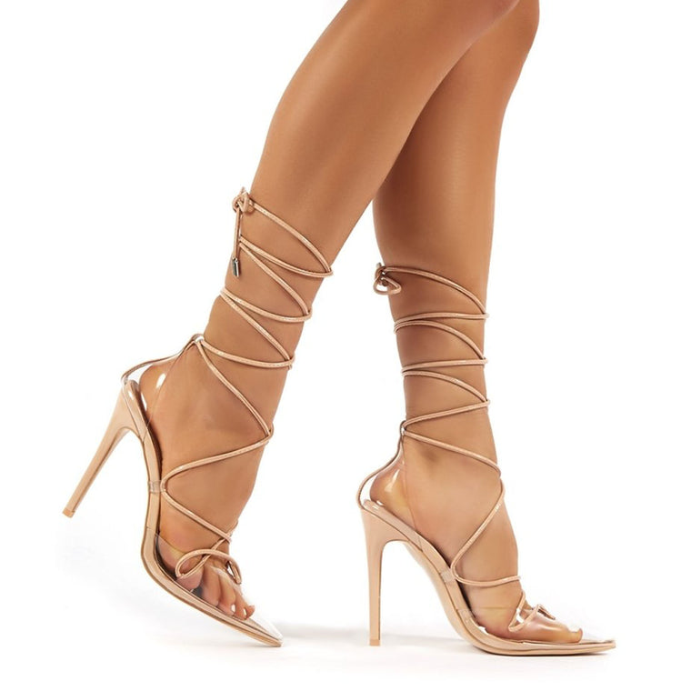 PUBLIC DESIRE CARMEN NUDE AND PERSPEX LACE UP STILETTO