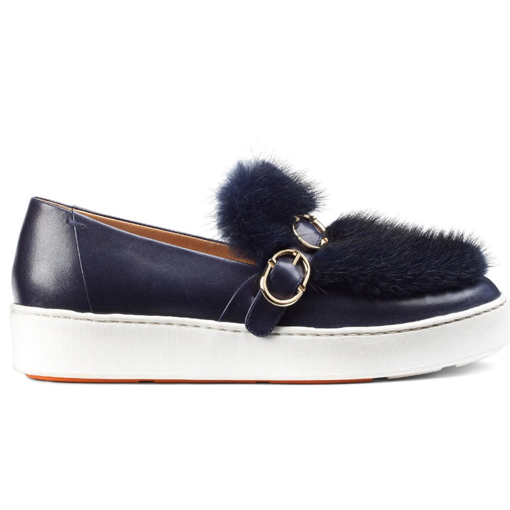SANTONI LEATHER FUR SNEAKER NAVY