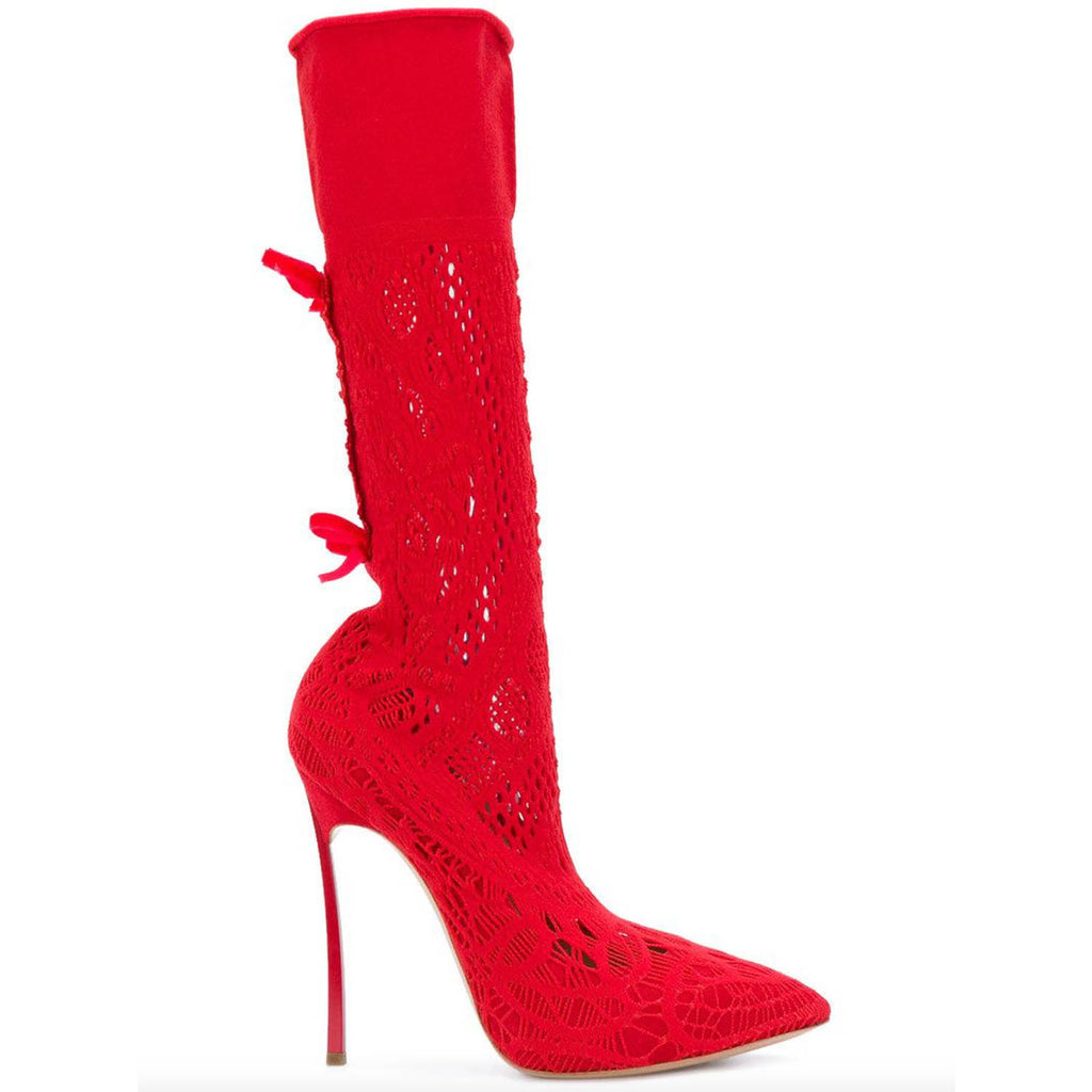 Casadei Women's Red Pointed Knit Boots