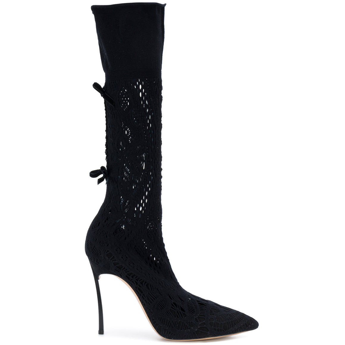 CASADEI Black Polacco Marylin Sock Heel Bootie