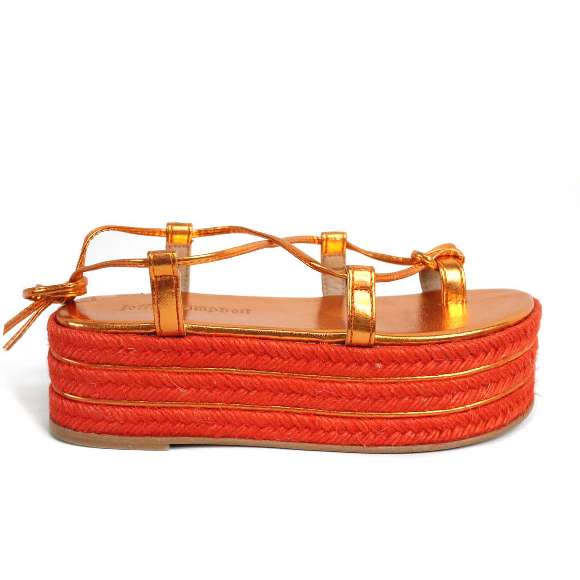 JEFFREY CAMPEBLL NAPA LAME ORANGE LACE UP SANDALS