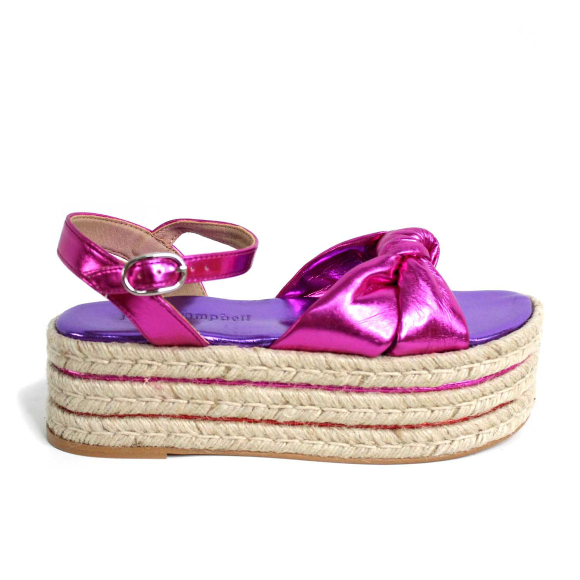 JEFFREY CAMPBELL NAPA LAME FUCHSIA MULTI SANDALS