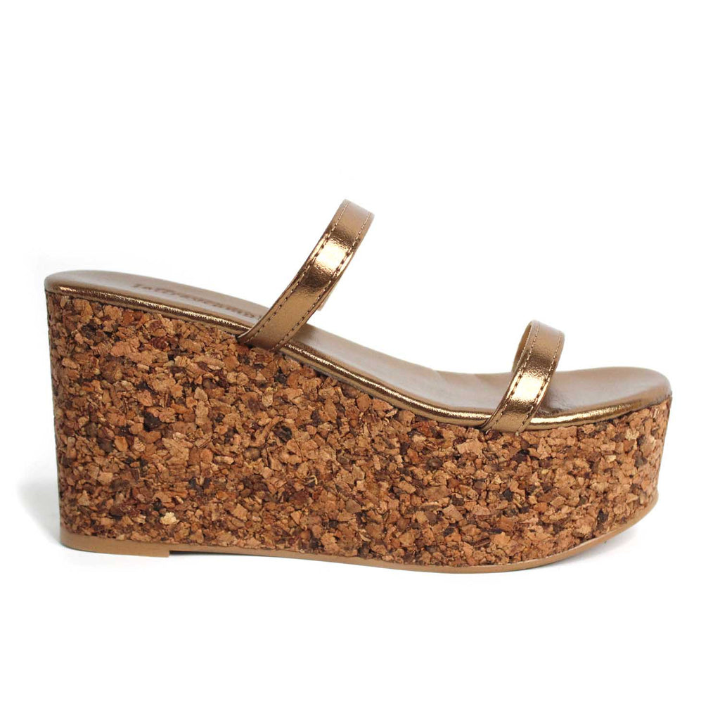 JEFFREY CAMPBELL FORRO LAMINATED BRONZE WEDGE