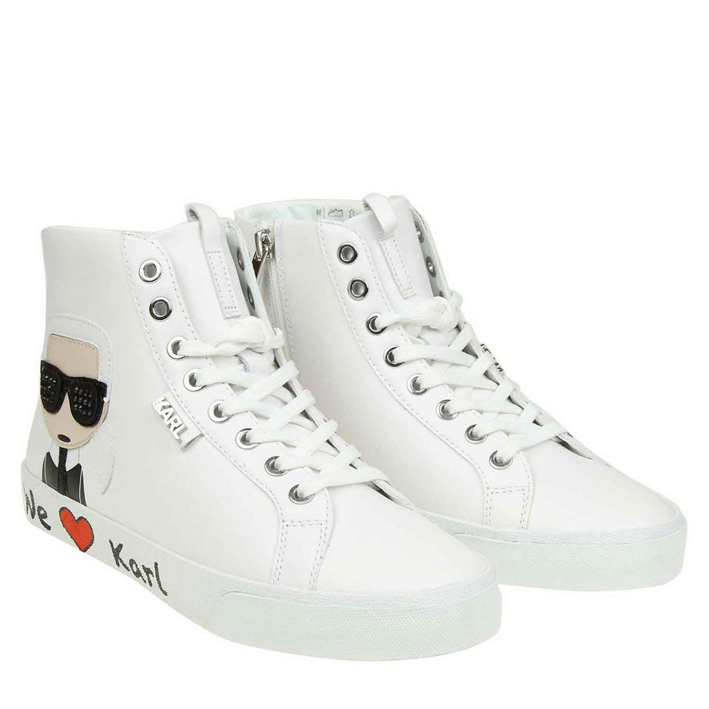 KARL LAGERFELD SKOOL WHITE HI TOP SNEAKER