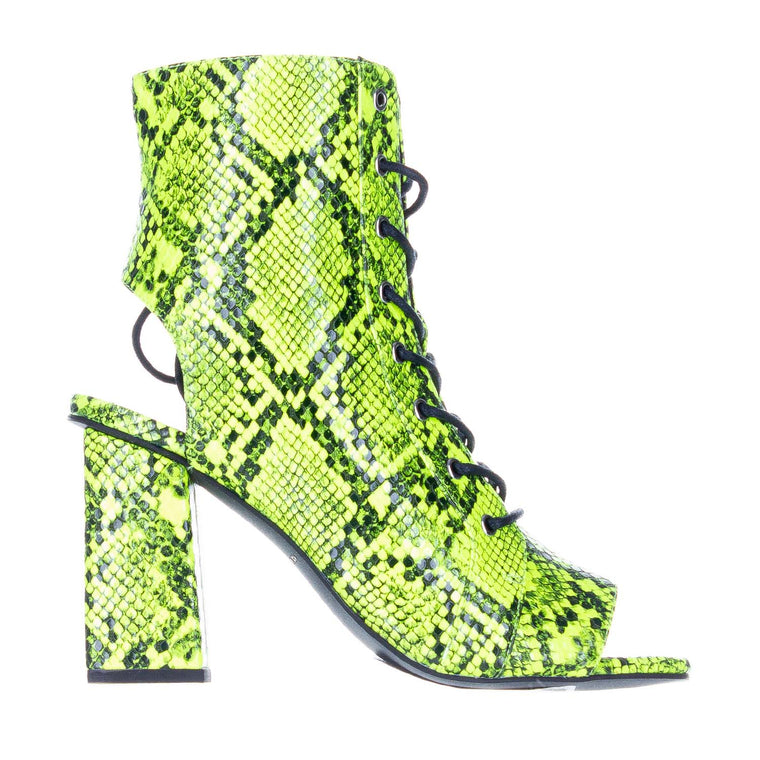 KENDALL + KYLIE BARLETTA NEON LIME SNAKE OPEN TOE BOOTS