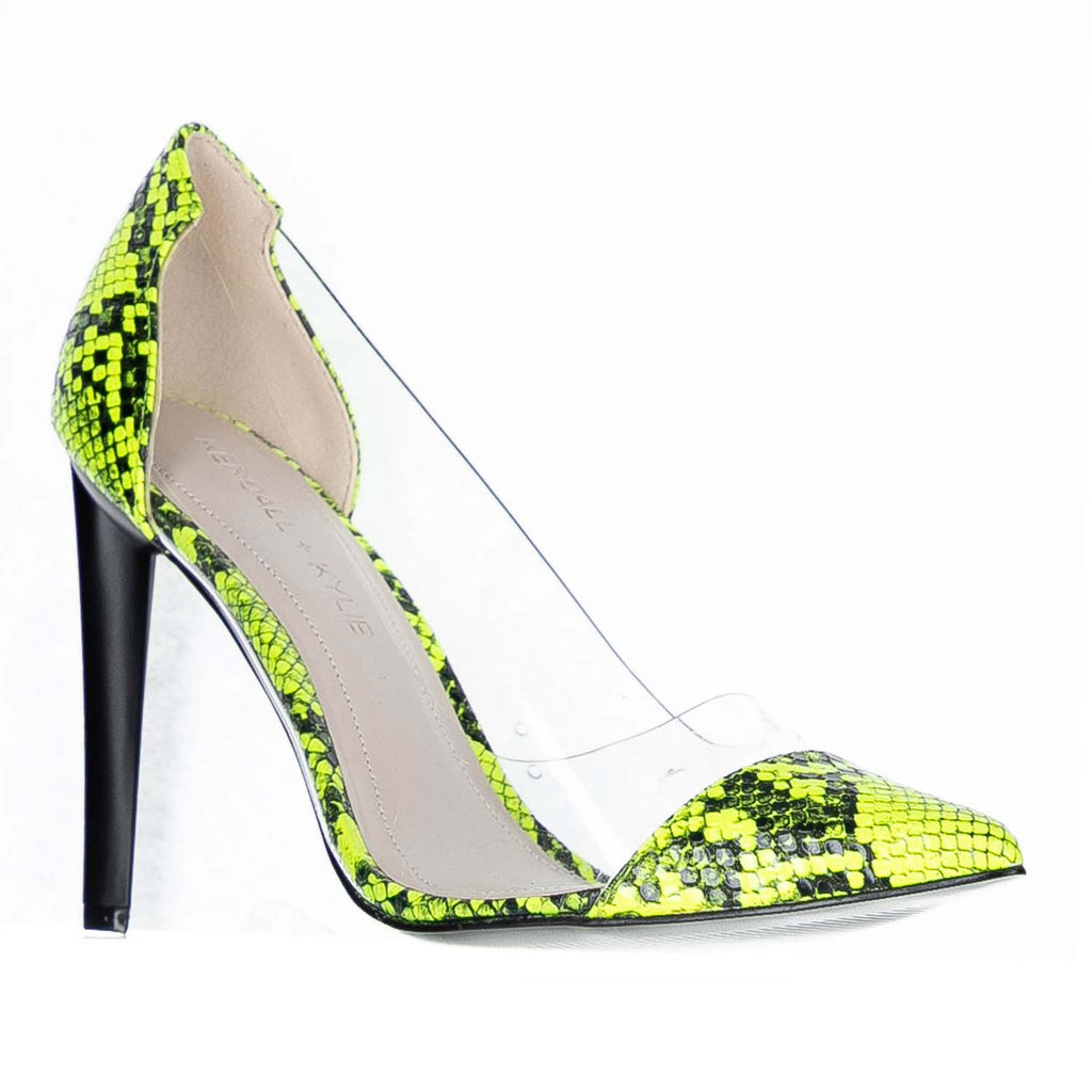 KENDALL + KYLIE MINT NEON LIME / CLEAR PUMPS
