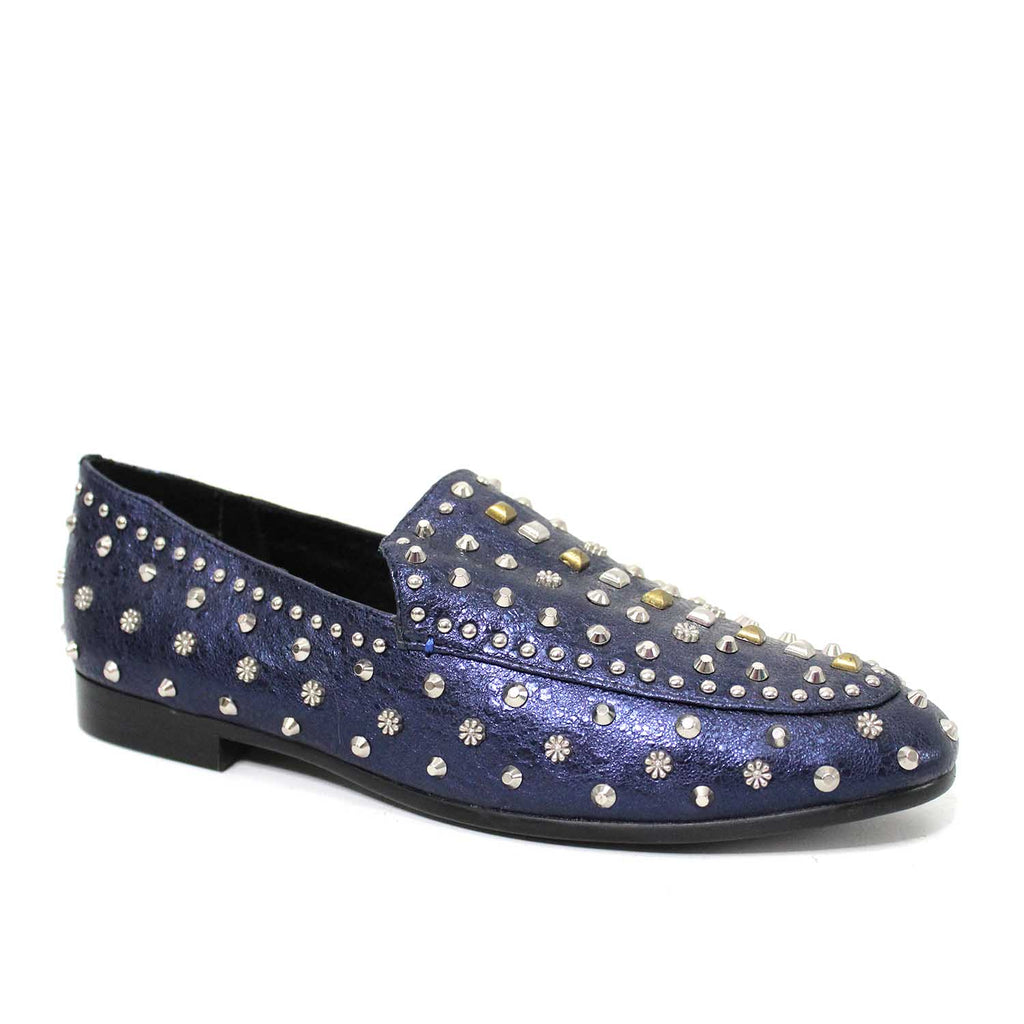 LOLA CRUZ NAVY LAMINATED SLIP ON