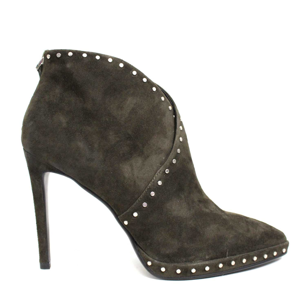 LOLA CRUZ OLIVE STUDDED BOOTIES