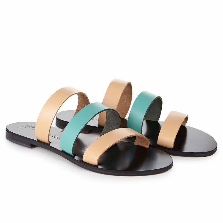 NICOLAS LAINAS ANDROS NUDE BLACK EDITION SANDALS