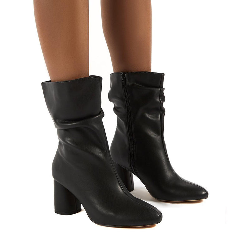 PUBLIC DESIRE MARSHMALLOW BLACK PU WIDE FIT HEELED ANKLE BOOTS