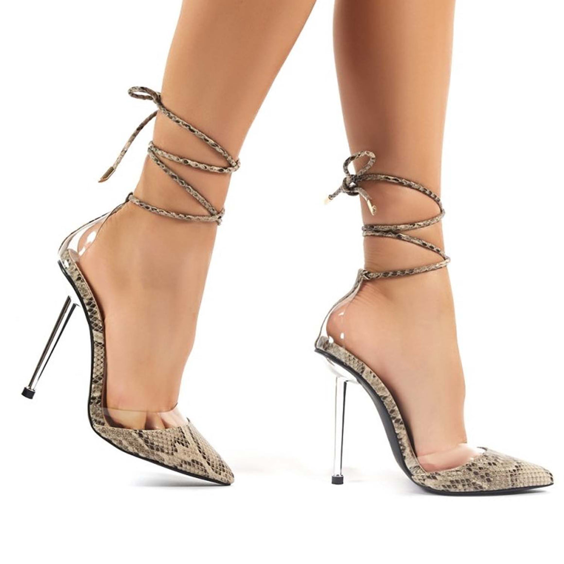 PUBLIC DESIRE ENVEE SNAKE LACE UP STILETTO