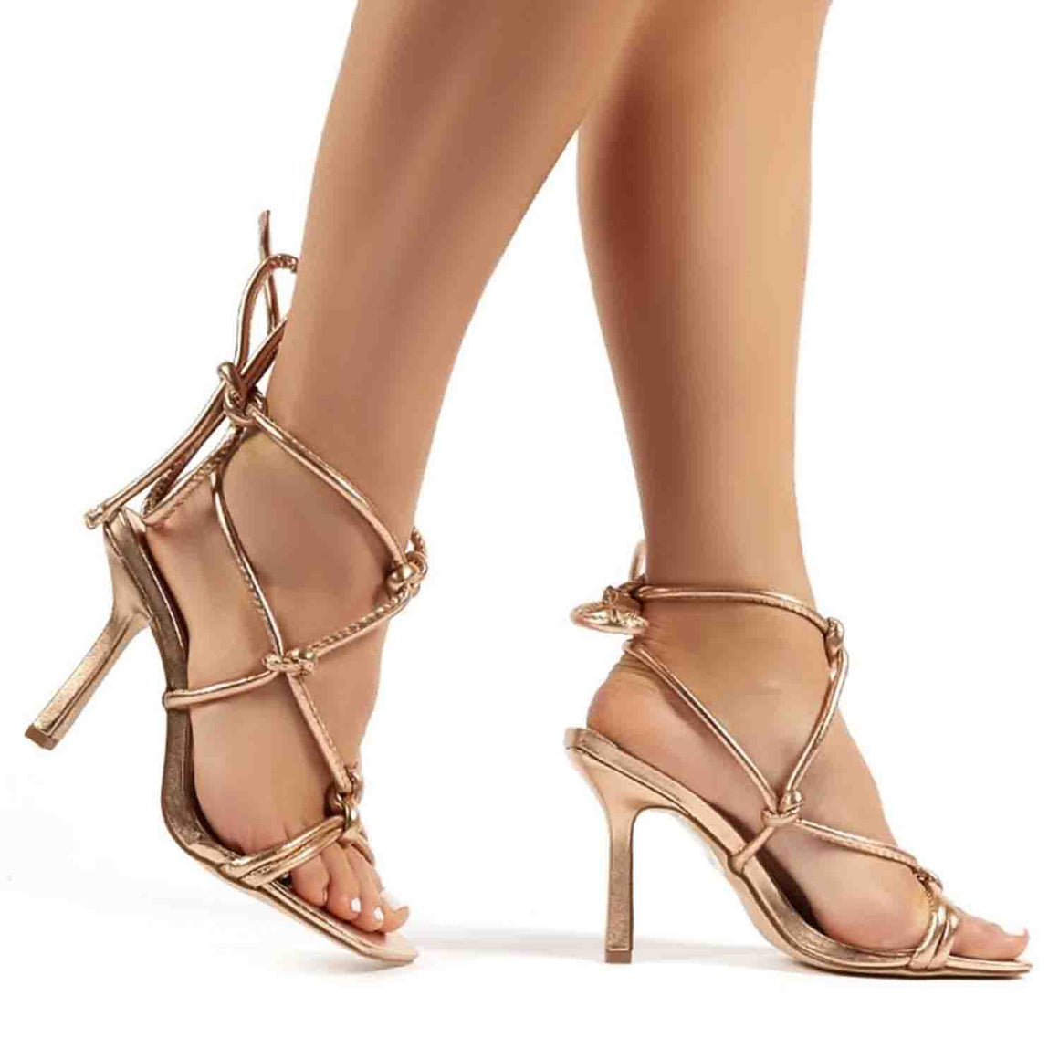 PUBLIC DESIRE LUNA ROSE GOLD STRAPPY KNOTTED STILETTO