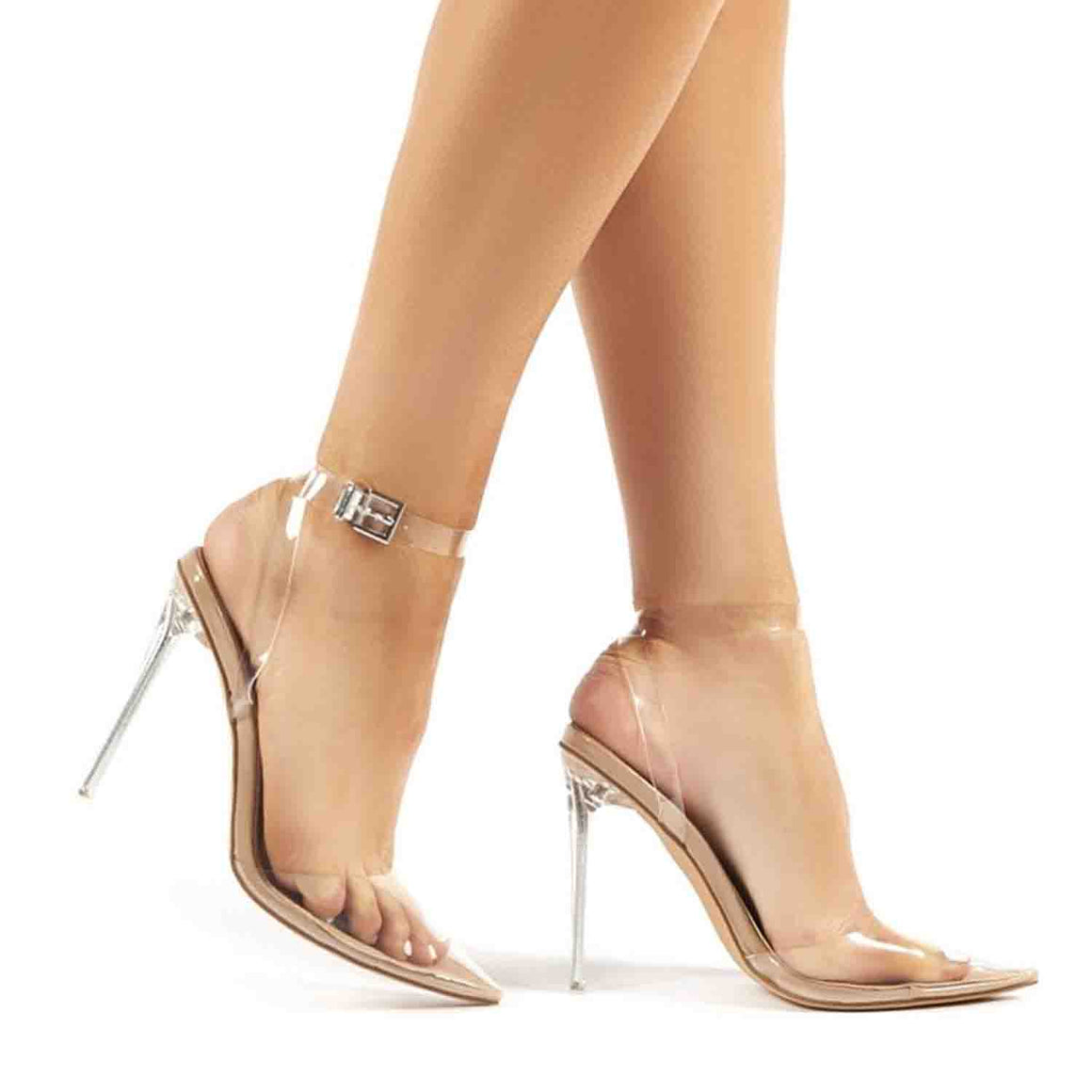 PUBLIC DESIRE WAVEY CLEAR POINTED TOE STILETTO