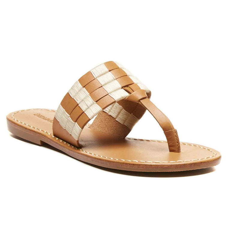 SOLUDOS MULTI BAND MACRAME STITCH THONG SANDAL
